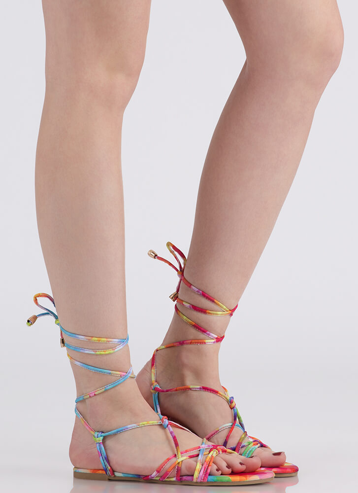 String Me Along Knotted Lace-Up Sandals MULTI
