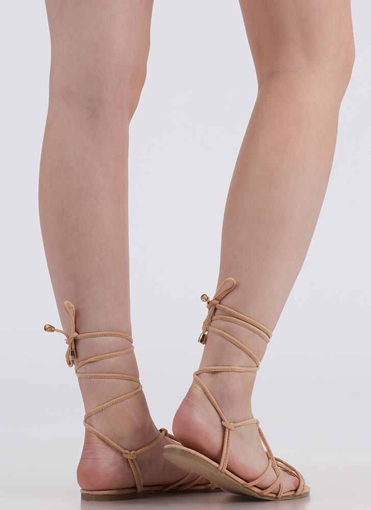 String Me Along Knotted Lace-Up Sandals NUDE