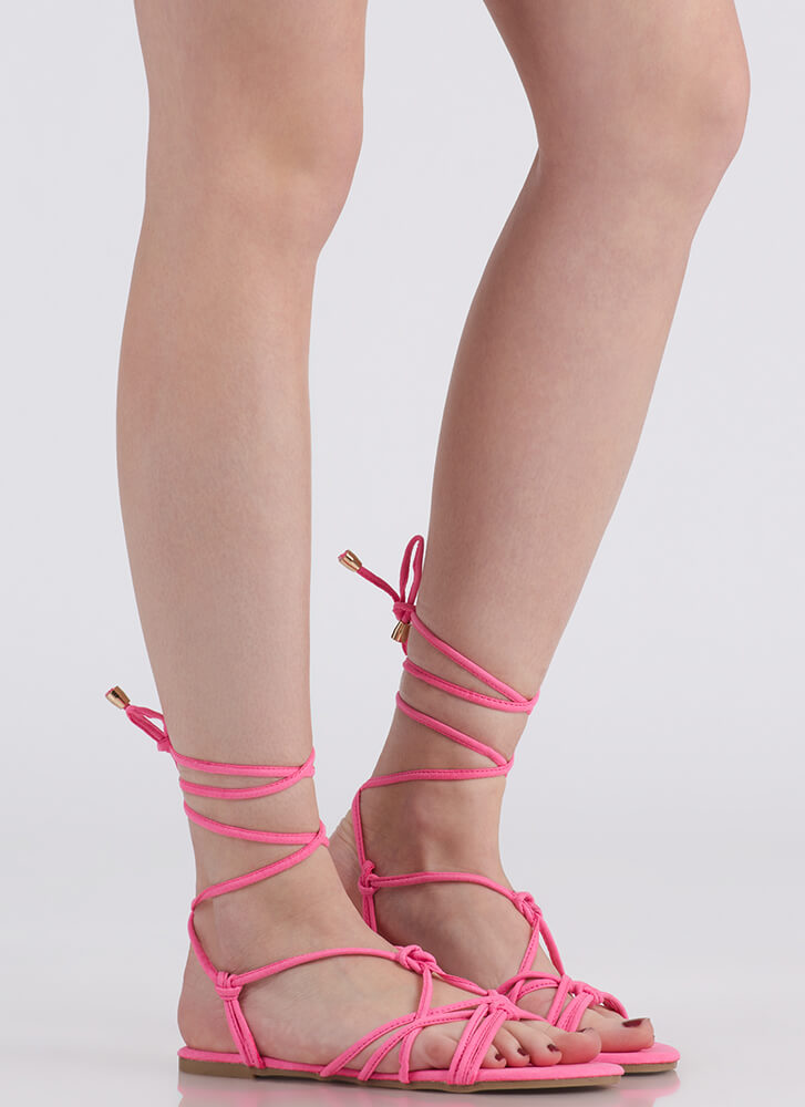 String Me Along Knotted Lace-Up Sandals PINK
