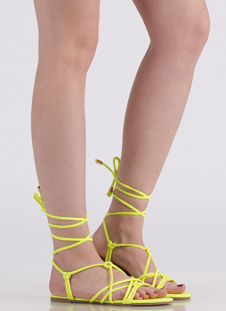 String Me Along Knotted Lace-Up Sandals YELLOW