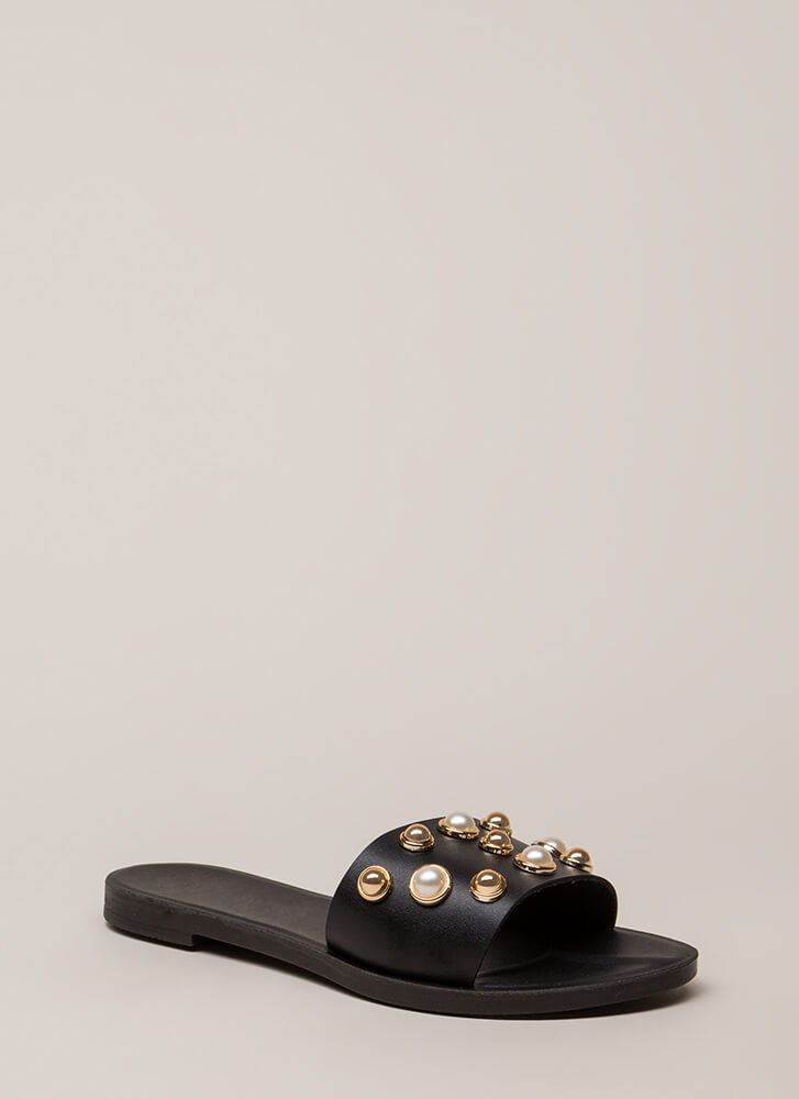 Lucky Lady Studded Faux Pearl Sandals BLACK