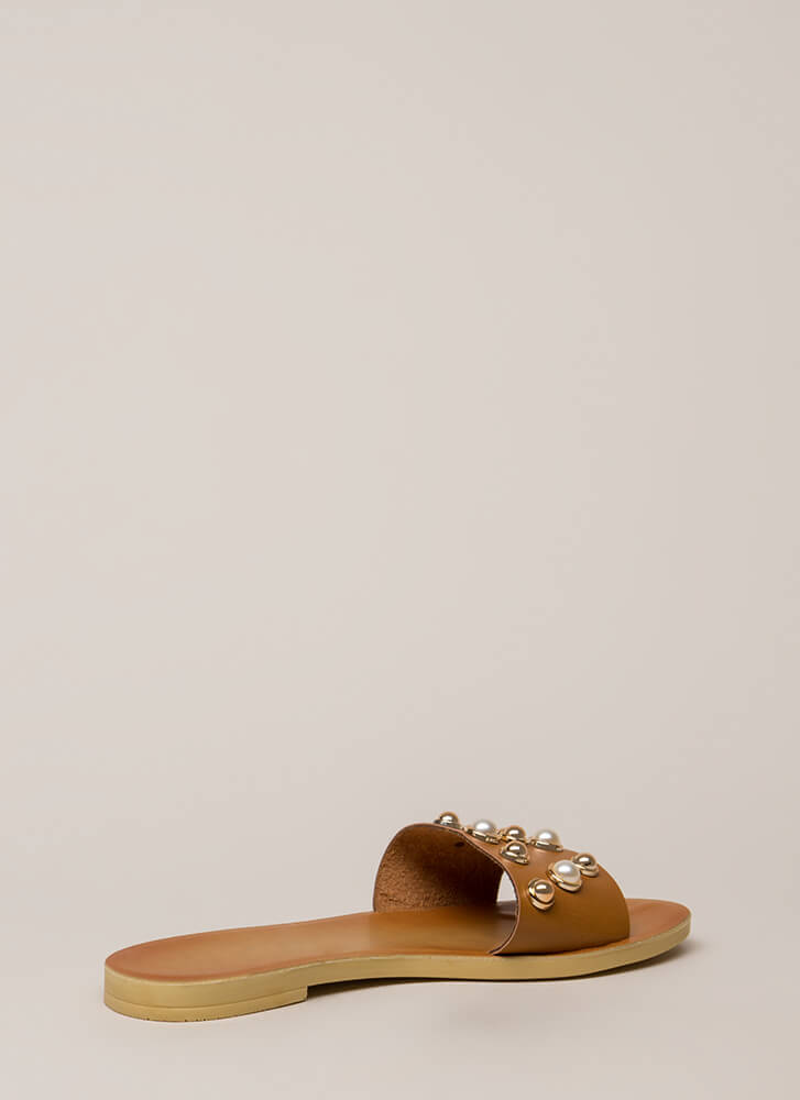Lucky Lady Studded Faux Pearl Sandals TAN