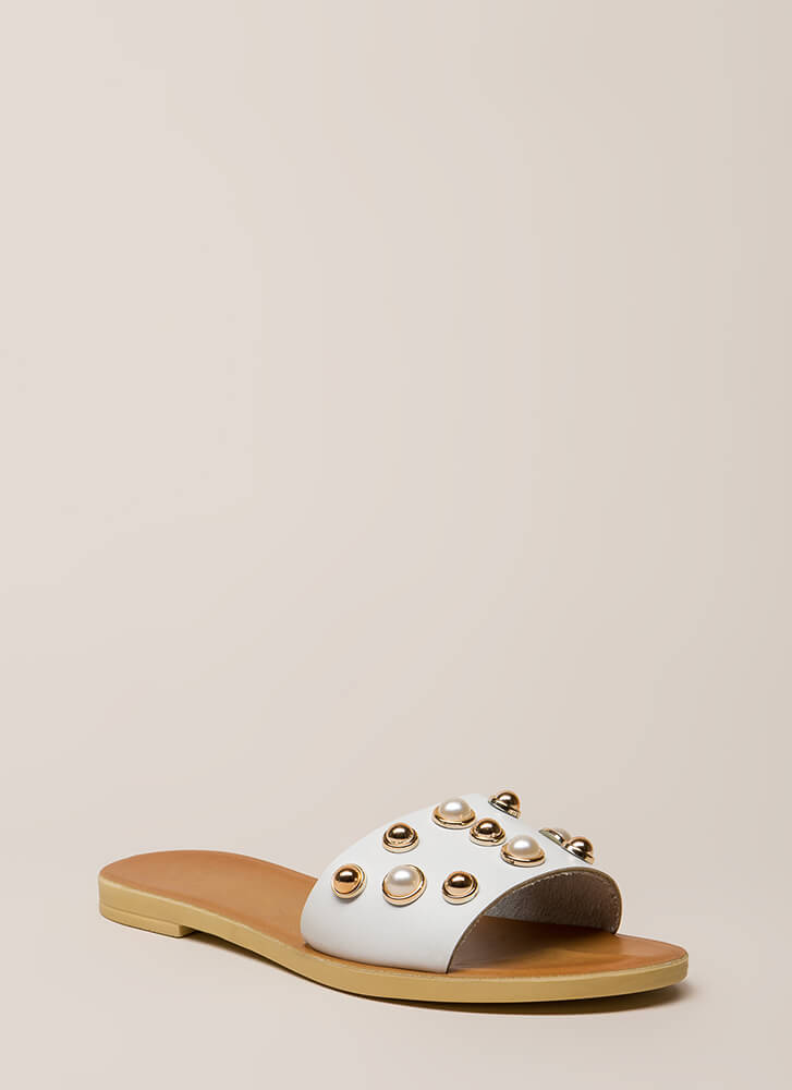 Lucky Lady Studded Faux Pearl Sandals WHITE