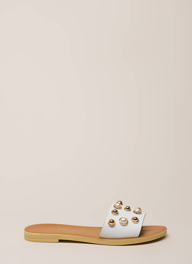 Lucky Lady Studded Faux Pearl Sandals BLACK TAN WHITE - GoJane.com