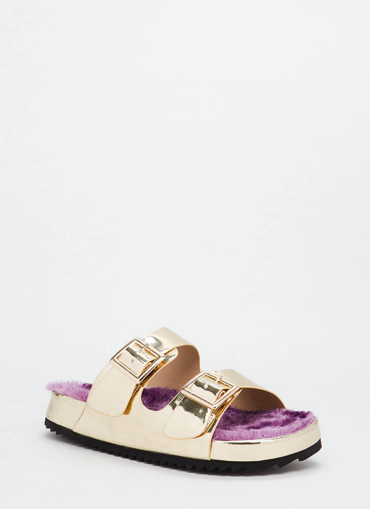Furry Up Faux Patent Slide Sandals GOLD