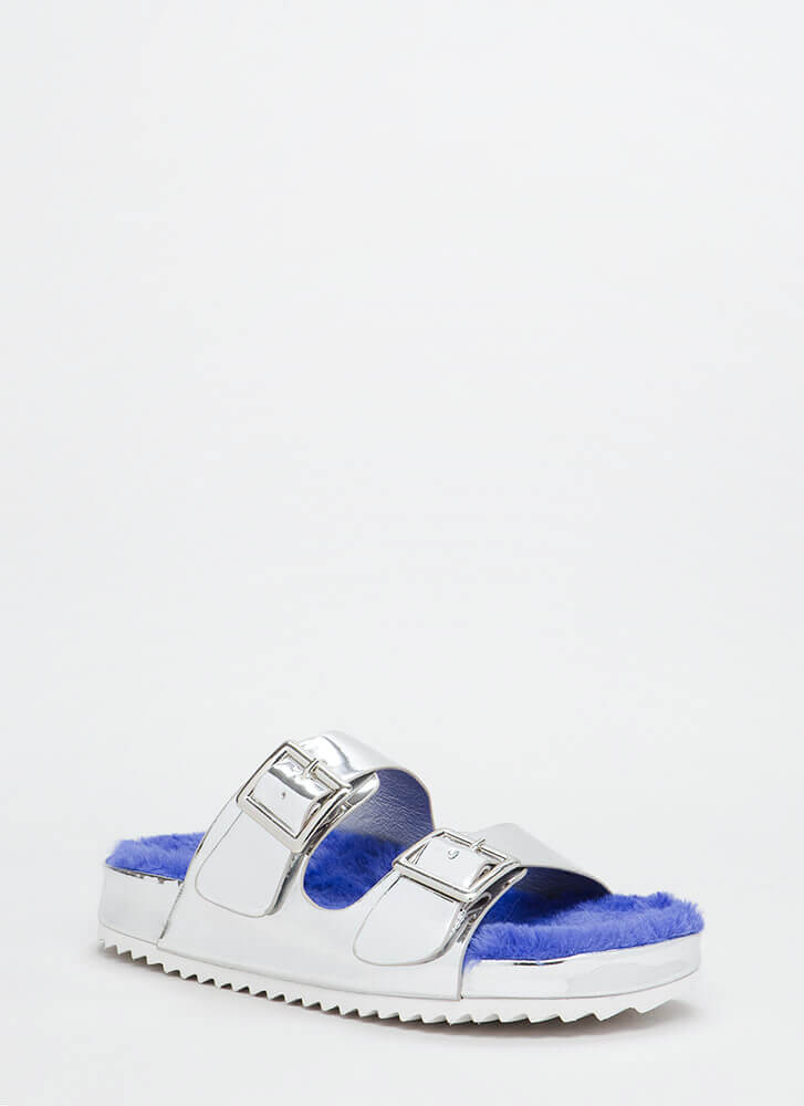 Furry Up Faux Patent Slide Sandals SILVER