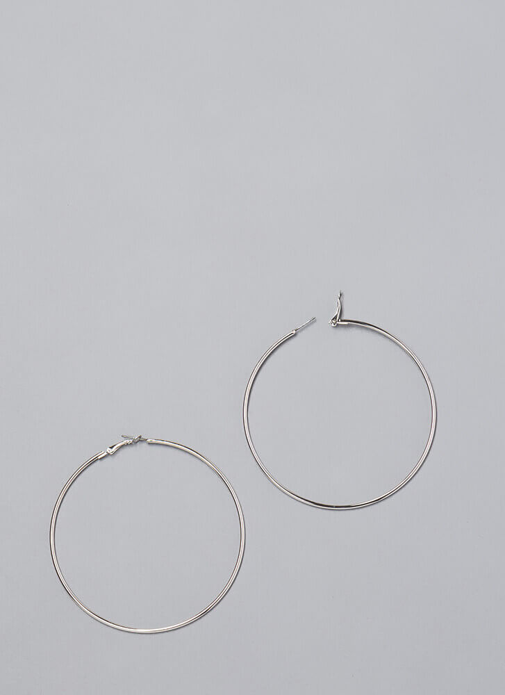 Essential Skinny Hoop Earrings SILVER