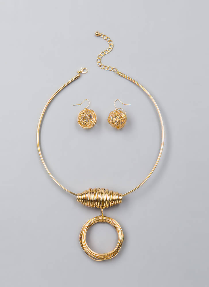 Down To The Wire Charm Necklace Set GOLD