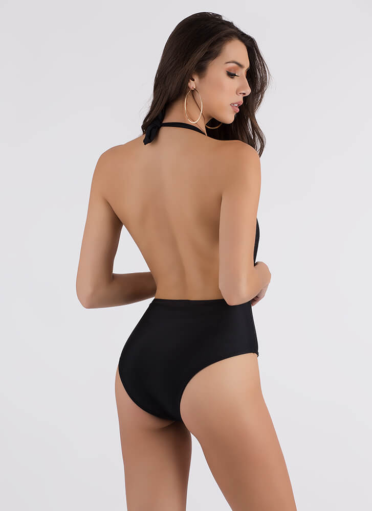 Taking The Plunge Halter Swimsuit BLACK (Final Sale)