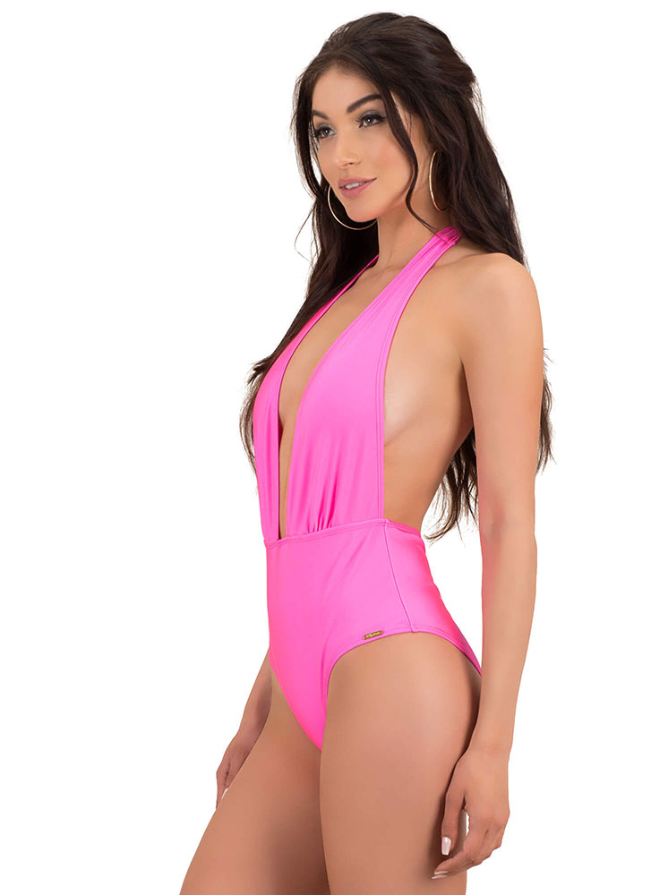 Taking The Plunge Halter Swimsuit FUCHSIA