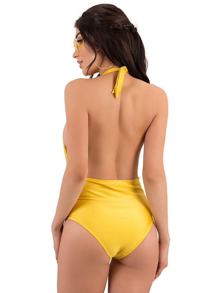 Taking The Plunge Halter Swimsuit GOLD