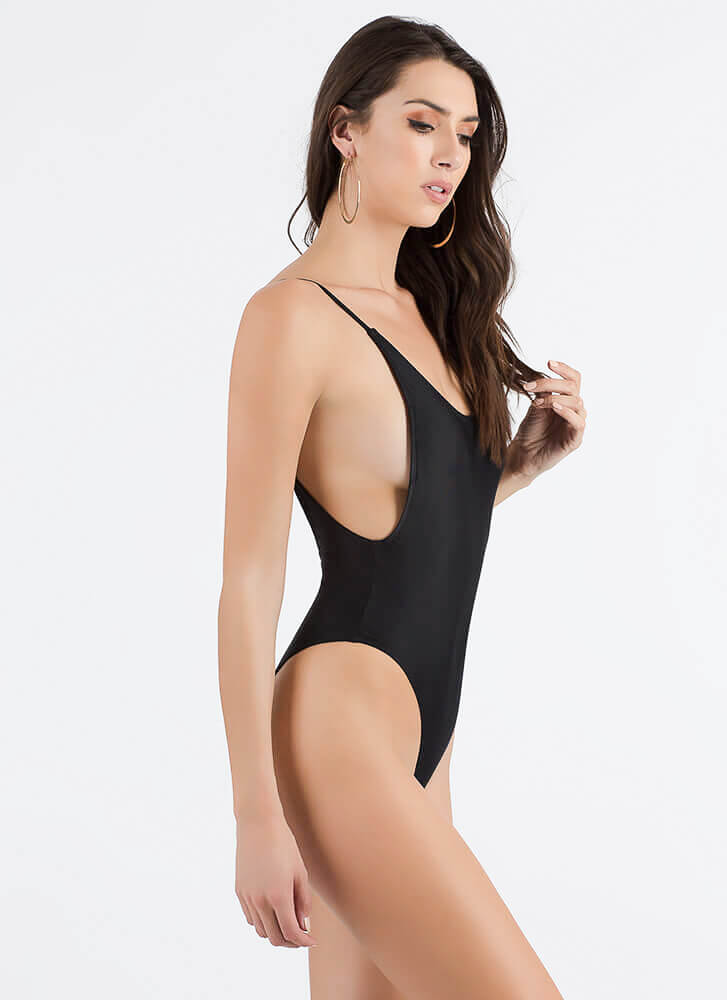 Off The Deep End Open-Back Swimsuit BLACK (Final Sale)