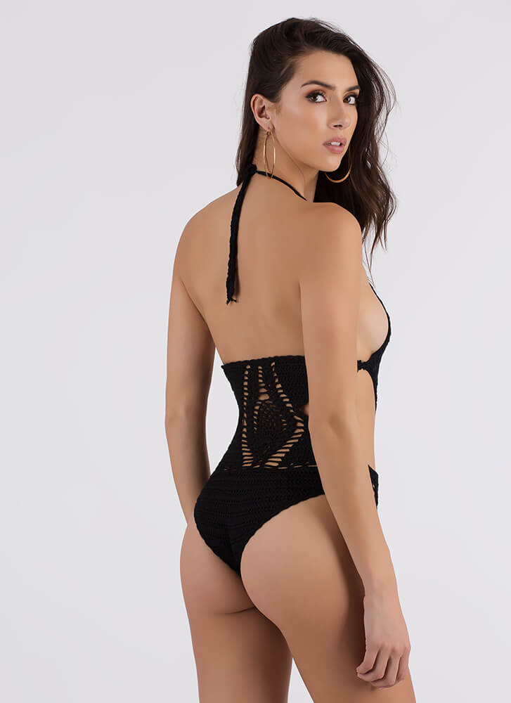 New Threads Cut-Out Crochet Swimsuit BLACK (Final Sale)