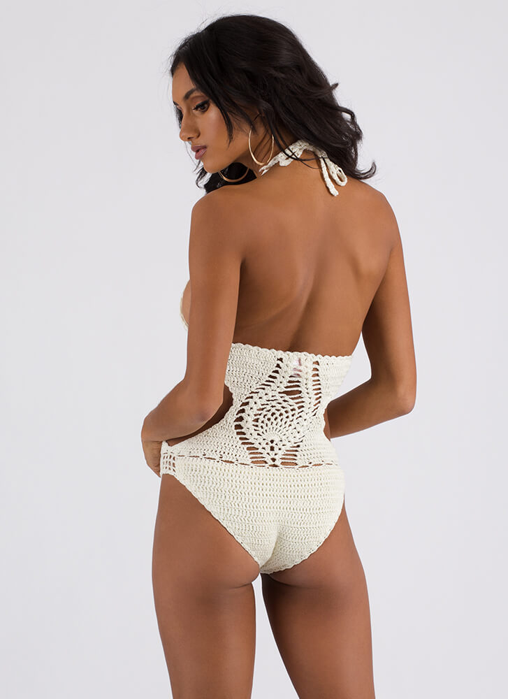 New Threads Cut-Out Crochet Swimsuit IVORY (Final Sale)