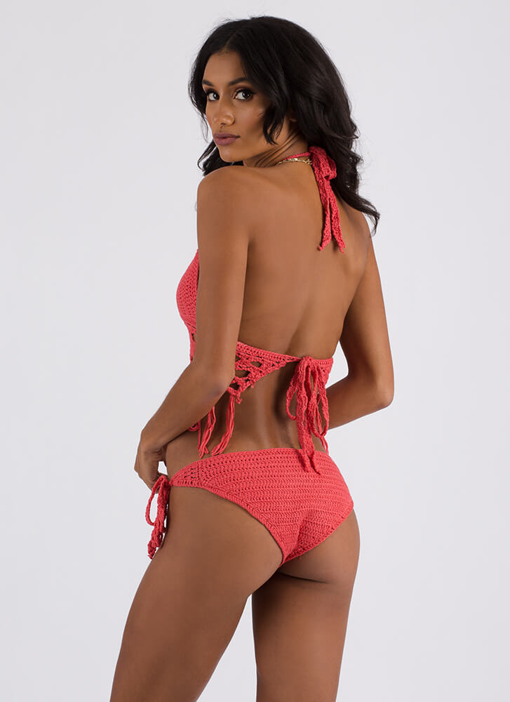 Knit Pick Tasseled Crochet Bikini Set CORAL