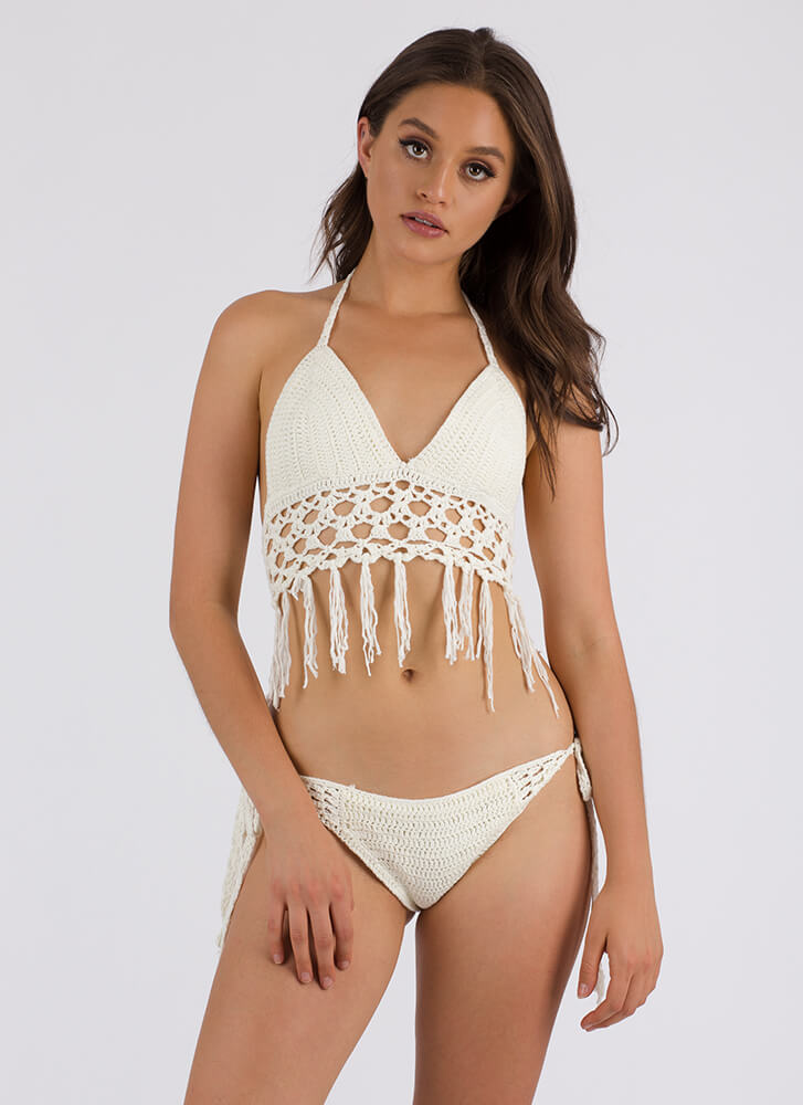 Knit Pick Tasseled Crochet Bikini Set WHITE