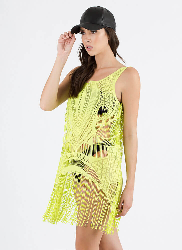 Fast Fringe Woven Swim Cover-Up LIME (Final Sale)