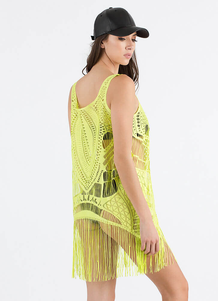 Fast Fringe Woven Swim Cover-Up LIME