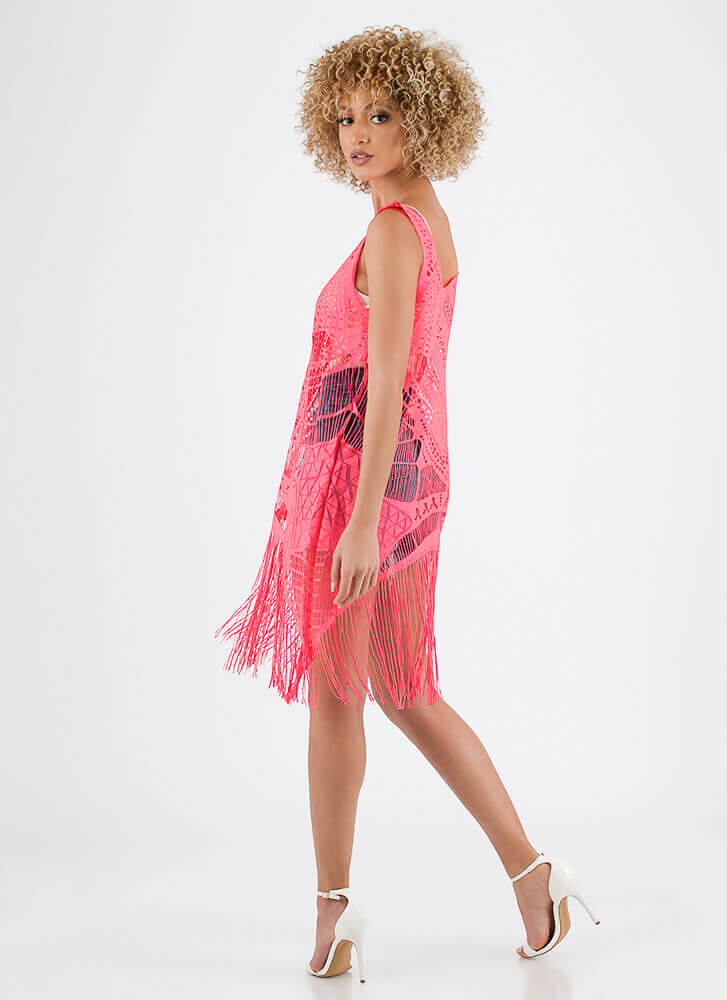 Fast Fringe Woven Swim Cover-Up NEONPINK