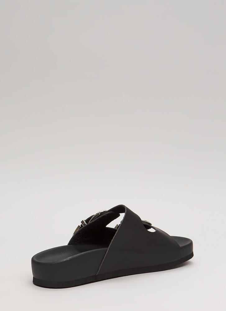 The West Was Won Buckled Slide Sandals BLACK