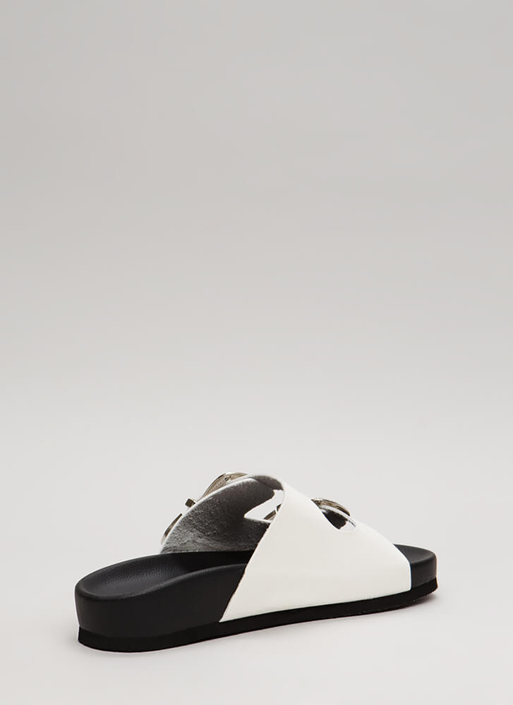 The West Was Won Buckled Slide Sandals WHITE