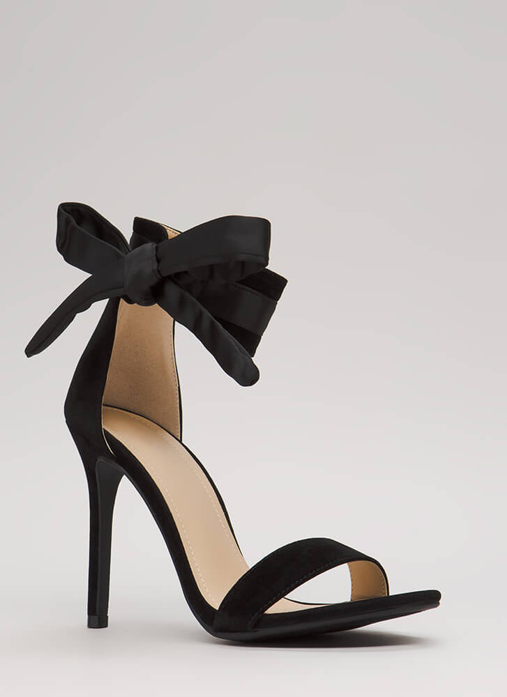 Put A Bow On It Tied Ankle Strap Heels BLACK