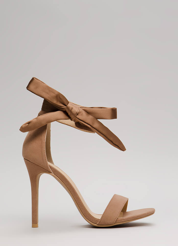Put A Bow On It Tied Ankle Strap Heels TAUPE