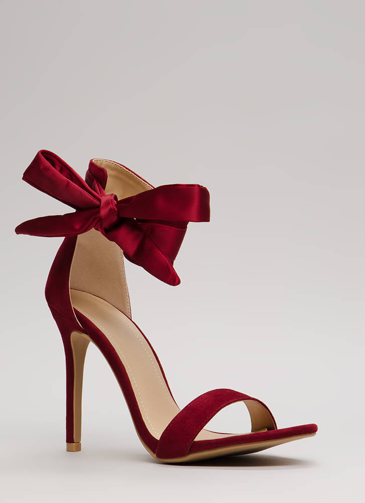 Put A Bow On It Tied Ankle Strap Heels WINE