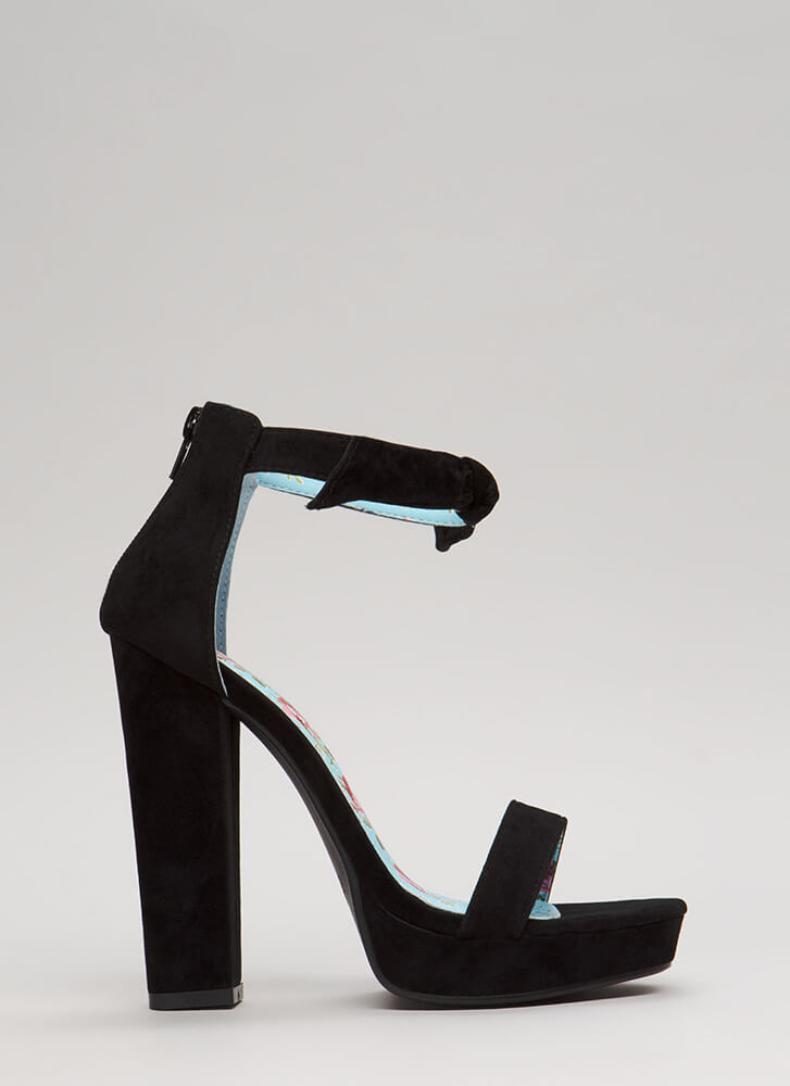 Knot Myself Lately Ankle Strap Platforms BLACK (Final Sale)