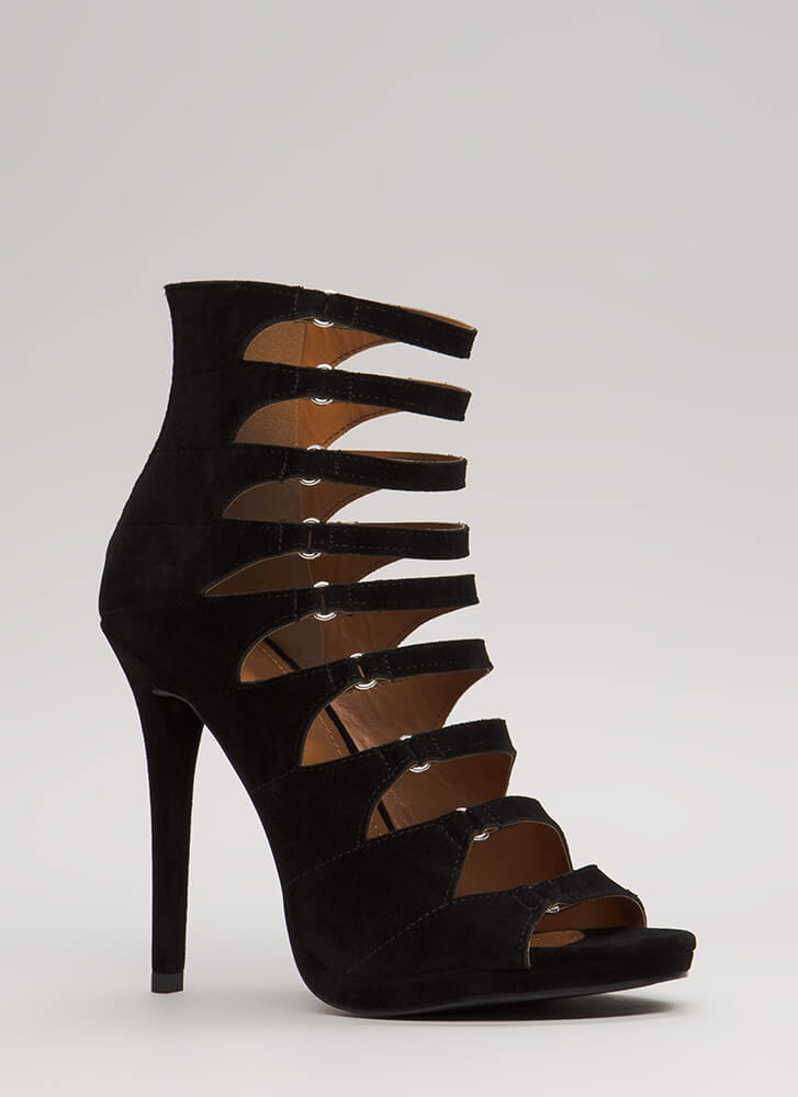 Straps On Straps Cut-Out Velvet Heels BLACK