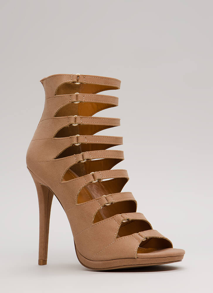Straps On Straps Cut-Out Velvet Heels TAUPE
