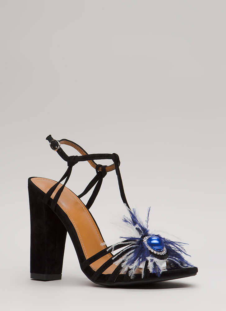 In Fine Feather Jeweled Strappy Heels BLACK (You Saved $27)