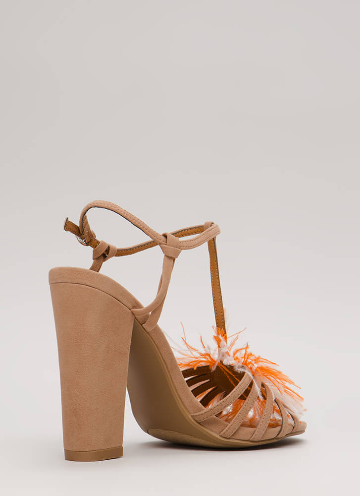 In Fine Feather Jeweled Strappy Heels TAUPE (You Saved $27)