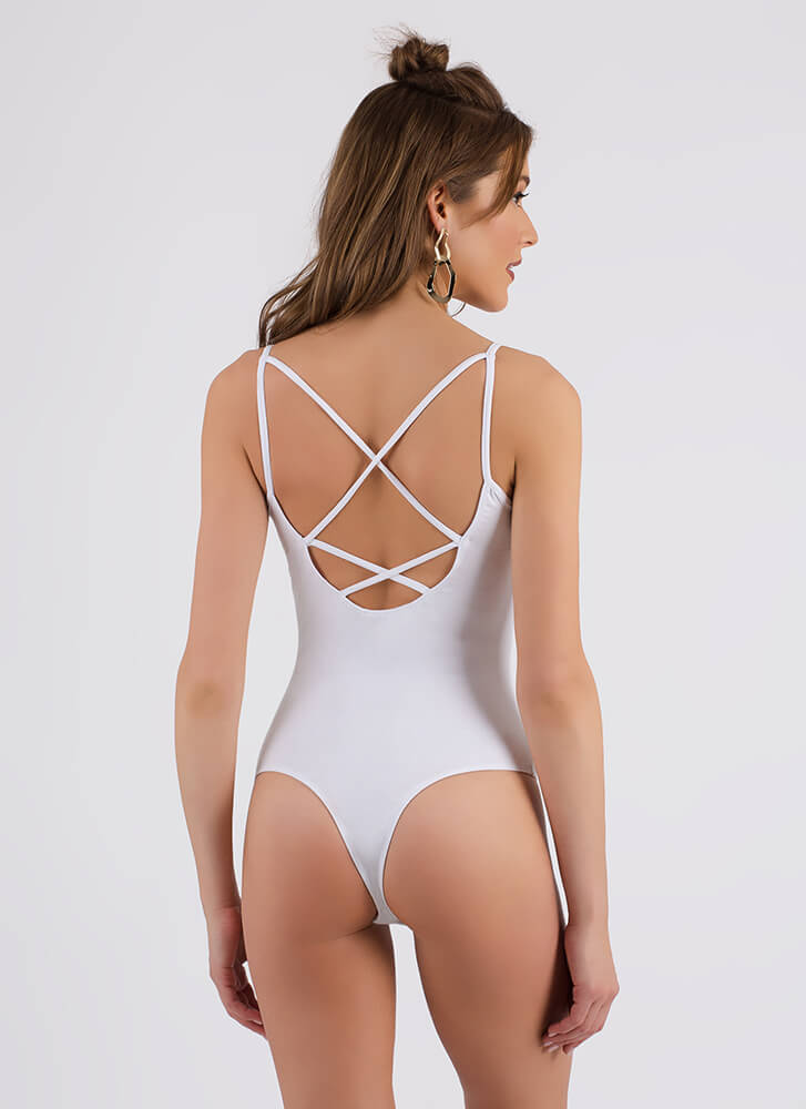 Strappy Medium Cut-Out Thong Bodysuit WHITE