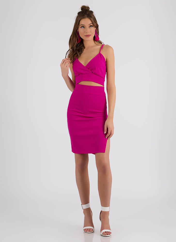 Tie It Out Tank Top And Skirt Set HOTPINK