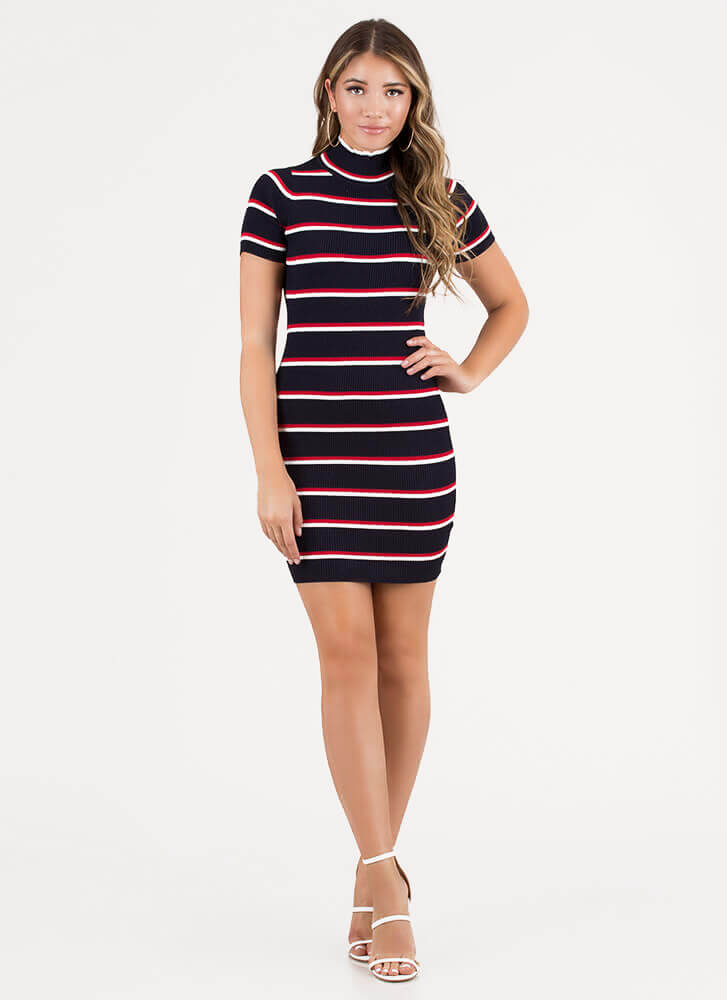 On The Line Striped Open-Back Dress NAVY