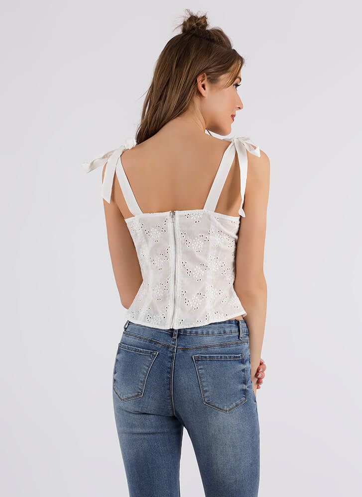 All Eyelets On You Floral Tie-Strap Top WHITE