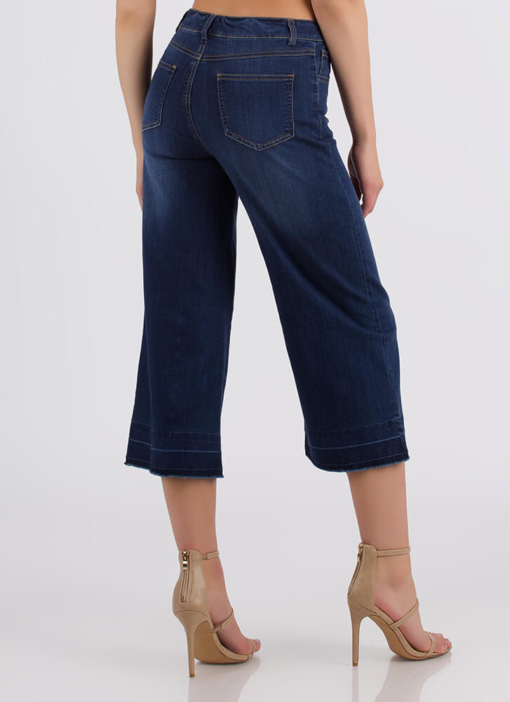 Whole Wide World Cropped Flared Jeans BLUE (Final Sale)