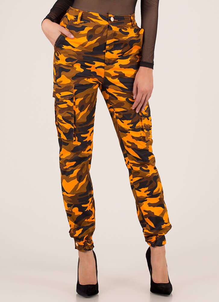 Cool In Camo High-Waisted Cargo Joggers ORANGECAMO