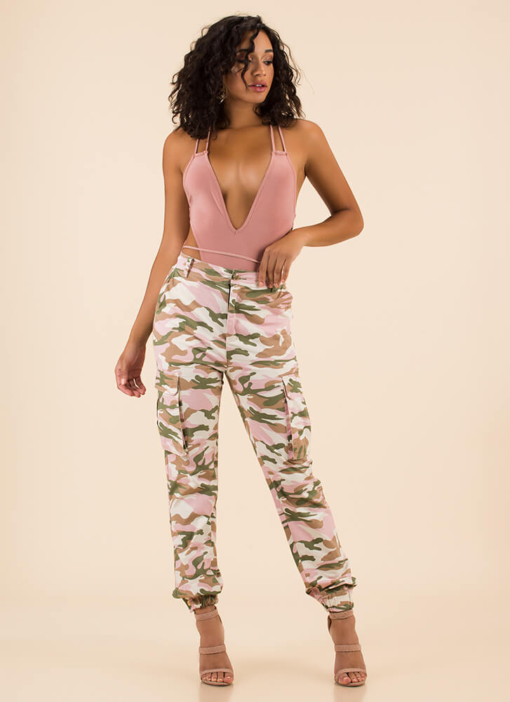Cool In Camo High-Waisted Cargo Joggers PINK