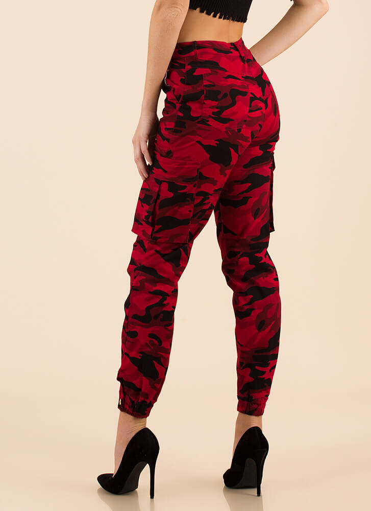Cool In Camo High-Waisted Cargo Joggers RED