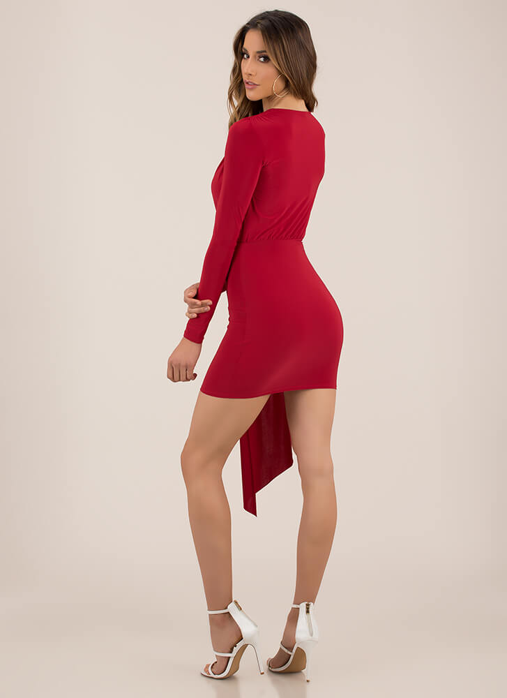 Keep The Piece Plunging Minidress RED