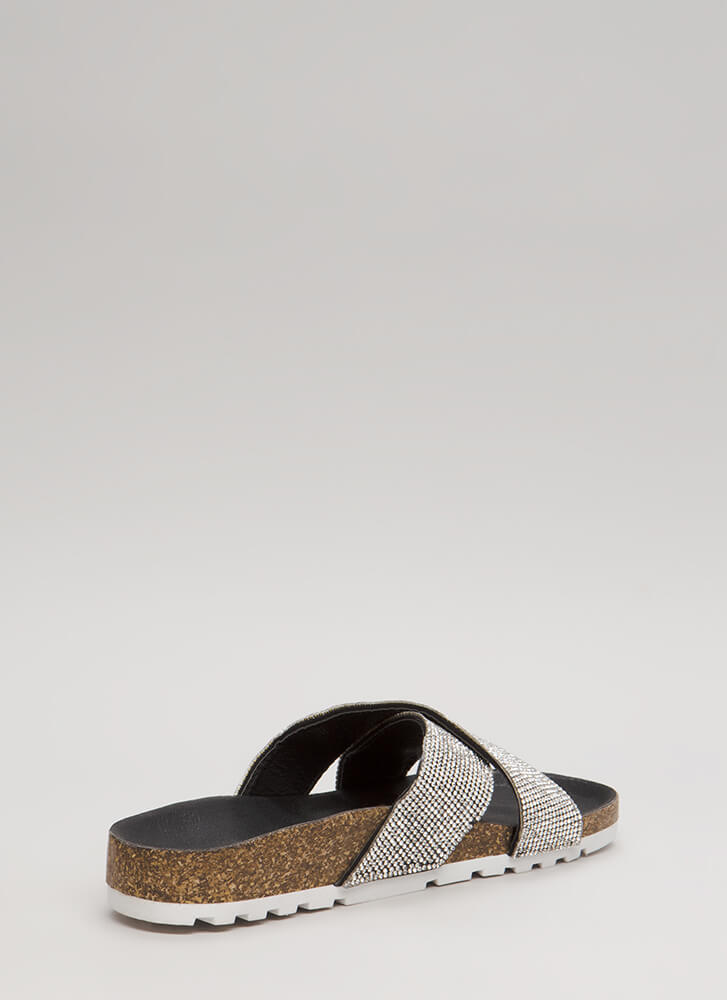 Bom Dia Jeweled Platform Slide Sandals BLACK