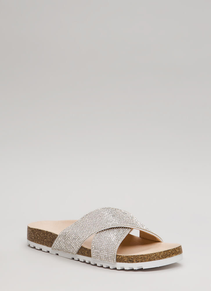Bom Dia Jeweled Platform Slide Sandals WHITE