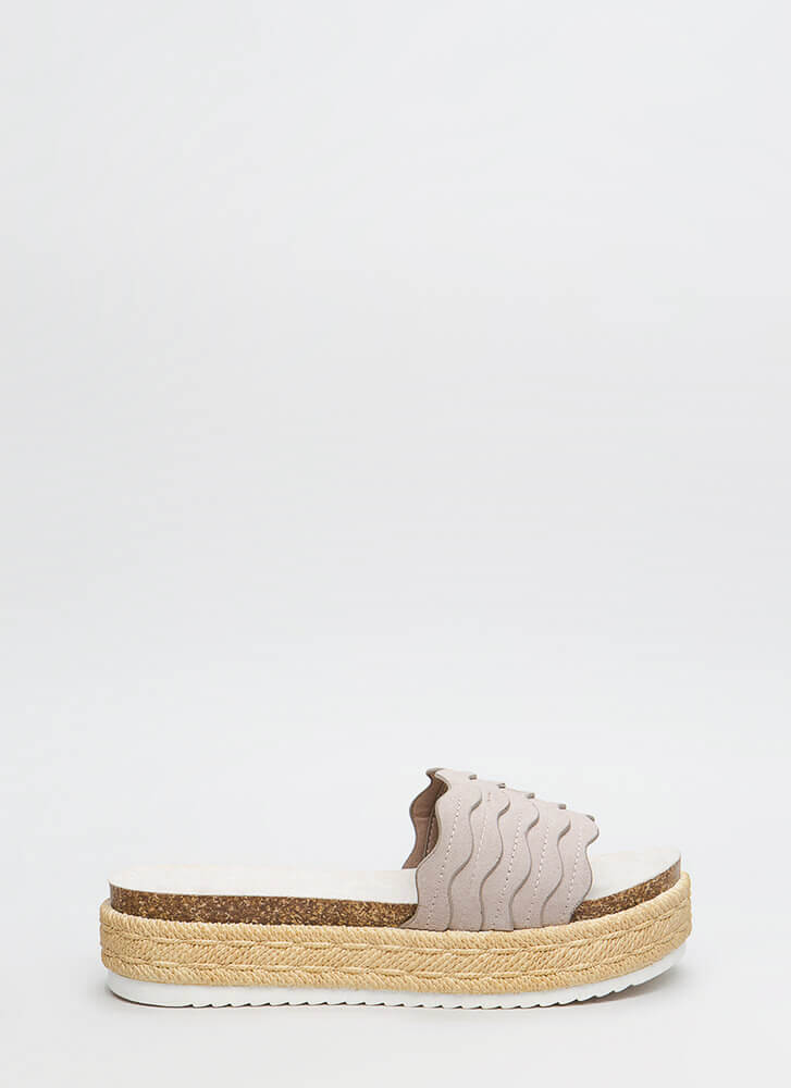 New Wave Platform Slide Sandals TAUPE