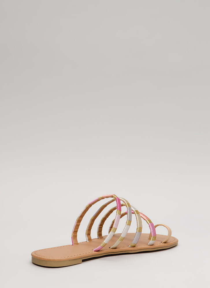 New Threads Strappy Faux Leather Sandals NUDE