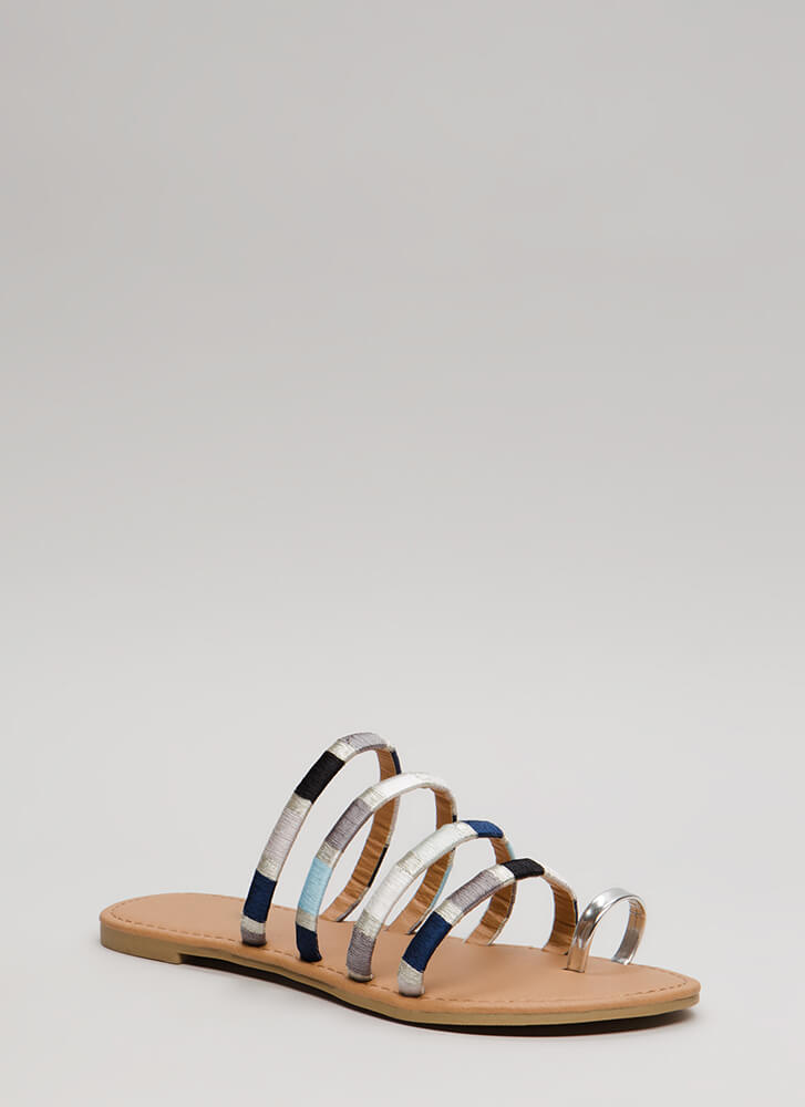 New Threads Strappy Metallic Sandals SILVER