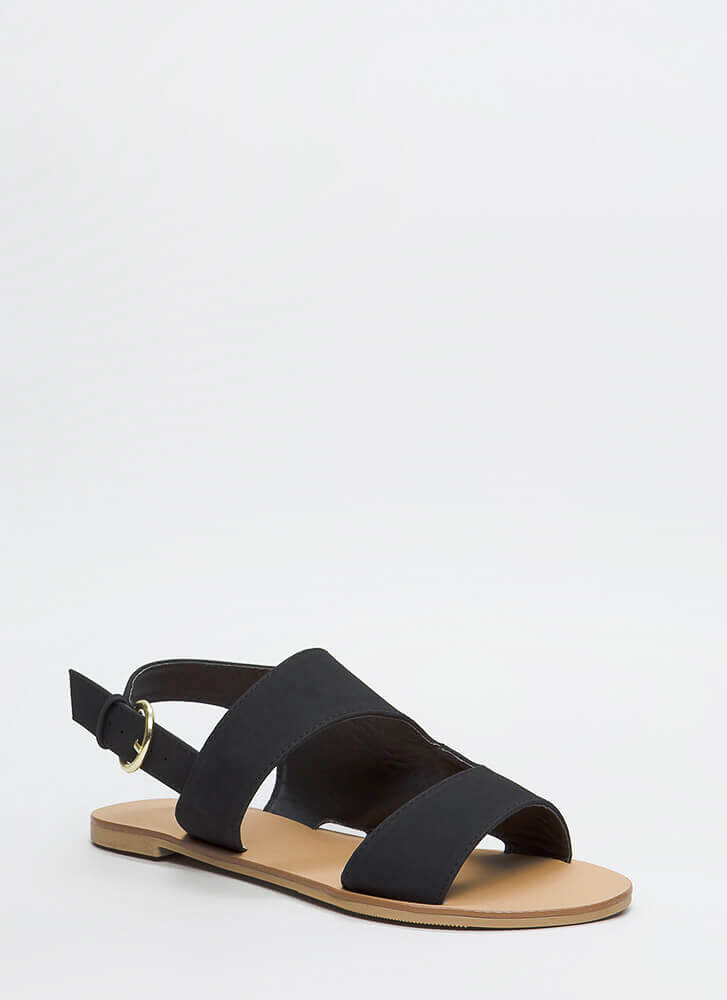 Walk To Remember Faux Nubuck Sandals BLACK