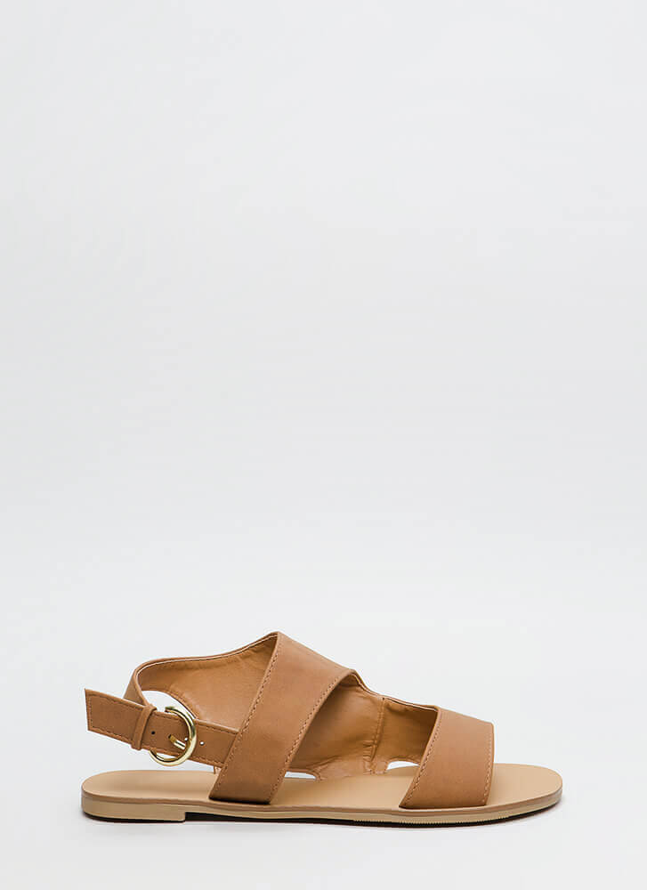 Walk To Remember Faux Nubuck Sandals COGNAC
