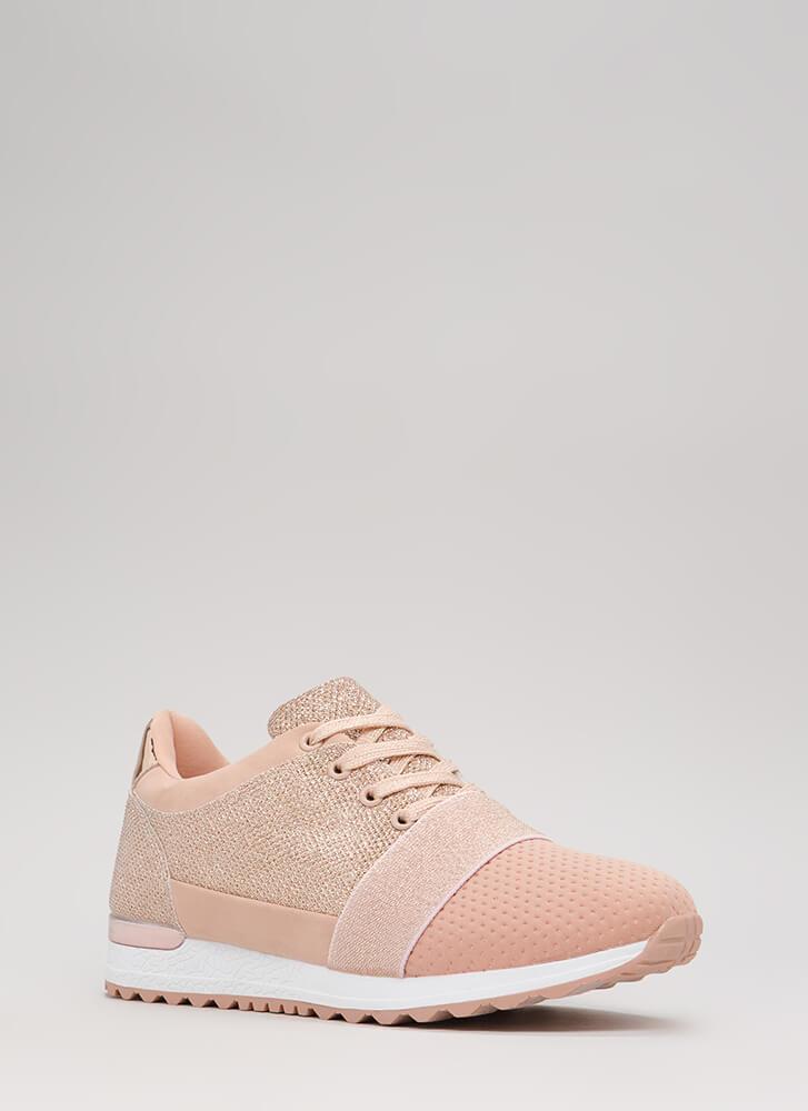 Turn Up The Volume Sparkly Sneakers NUDE